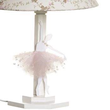 Abajur Madeira Bailarina Acrílico Rosa