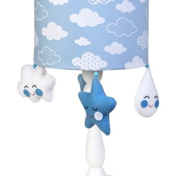 Abajur Madeira Chuva De Amor Azul
