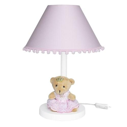 Abajur Madeira Ursa Princesa Rosa