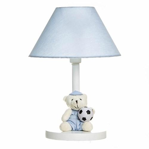 Abajur Madeira Urso Com Bola Azul