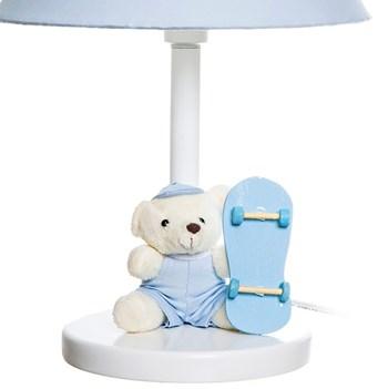 Abajur Madeira Urso Skate Azul