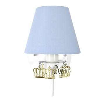 Arandela 1 Lâmpada Azul com Coroas Douradas