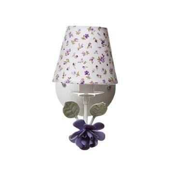 Arandela 1 Lâmpada Flor Grande Lilás