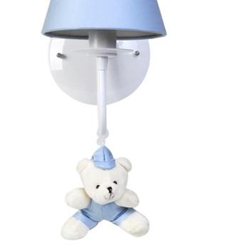Arandela 1 Lâmpada Ursinho De Boné Azul
