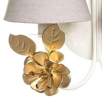 Arandela 2 Lâmpadas Flores Grandes Douradas