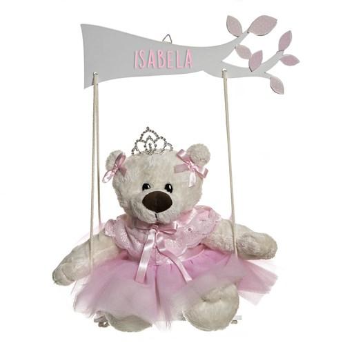 Balança Com Ursa Bailarina Rosa