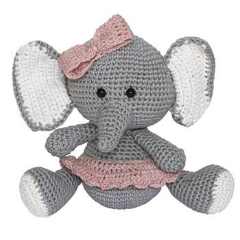 Elefante Lala de Lacinho Rosa Amigurumi Crochê