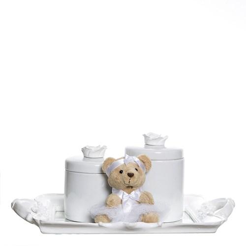 Kit Bandeja Espelho Com 2 Potes E Ursinha Branca