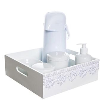 Kit Higiene Bandeja Lisa Renda Com 6 Peças