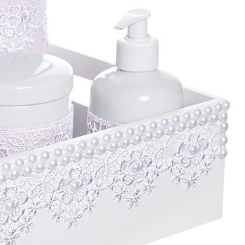 Kit Higiene Bandeja Lisa Renda Com 6 Peças E Capa