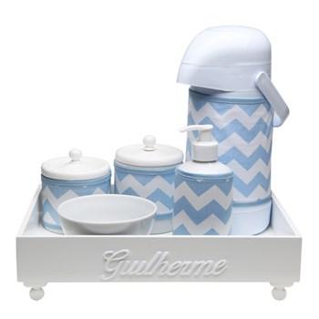 Kit Higiene Candy Com Nome Azul Chevron