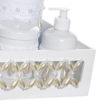 Kit Higiene Clássico Pérolas Com 6 Peças E Capa