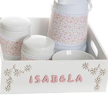 Kit Higiene Com Porcelanas E Capa Bandeja Lisa Com Nome