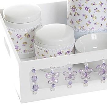 Kit Higiene Com Porcelanas E Capa Borboleta Lilás