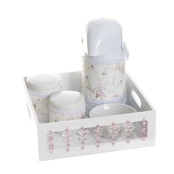Kit Higiene Com Porcelanas E Capa Borboleta Rosa