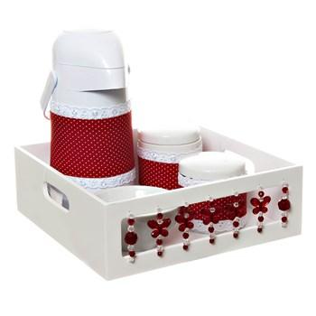Kit Higiene Com Porcelanas E Capa Borboleta Vermelha