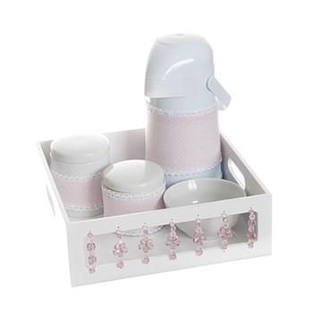 Kit Higiene Com Porcelanas E Capa Florzinha Rosa