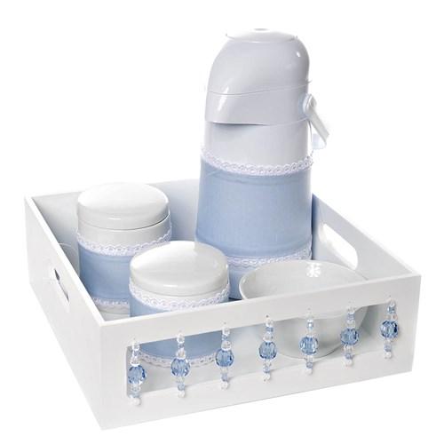 Kit Higiene Com Porcelanas E Capa Pedra Azul