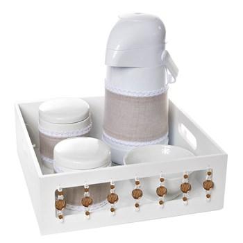 Kit Higiene Com Porcelanas E Capa Pedra Bege