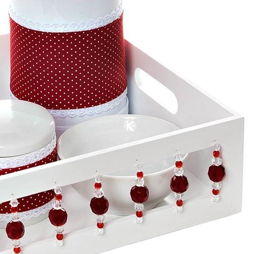 Kit Higiene Com Porcelanas E Capa Pedra Vermelha