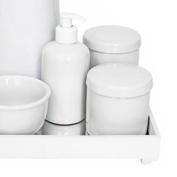 Kit Higiene Espelho Completo Porcelanas e Garrafa Branco