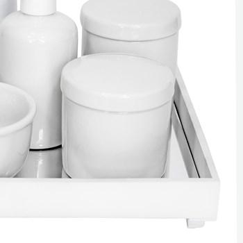 Kit Higiene Espelho Completo Porcelanas e Garrafa Pequena Branco