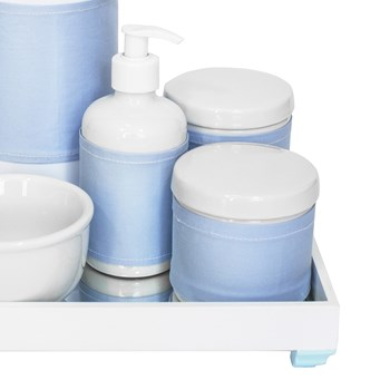 Kit Higiene Espelho Completo Porcelanas, Garrafa e Capa Azul
