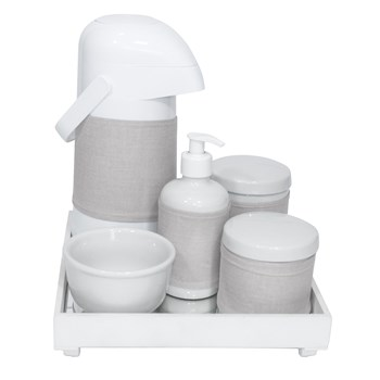 Kit Higiene Espelho Completo Porcelanas, Garrafa e Capa Branco
