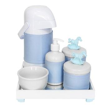 Kit Higiene Espelho Completo Porcelanas, Garrafa e Capa Cavalinho Azul