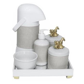 Kit Higiene Espelho Completo Porcelanas, Garrafa e Capa Cavalinho Dourado