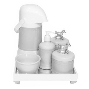 Kit Higiene Espelho Completo Porcelanas, Garrafa e Capa Cavalinho Prata