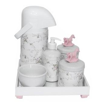 Kit Higiene Espelho Completo Porcelanas, Garrafa e Capa Cavalinho Rosa