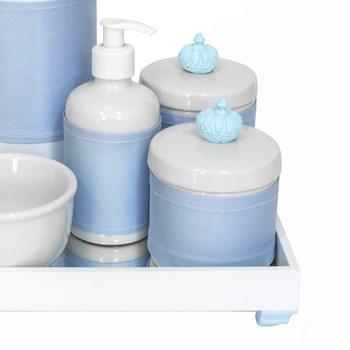 Kit Higiene Espelho Completo Porcelanas, Garrafa e Capa Coroa Azul