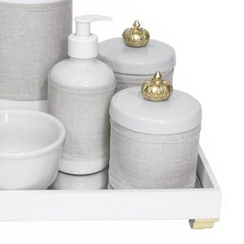 Kit Higiene Espelho Completo Porcelanas, Garrafa e Capa Coroa Dourado