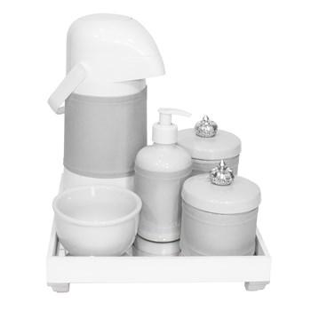 Kit Higiene Espelho Completo Porcelanas, Garrafa e Capa Coroa Prata