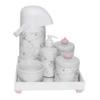 Kit Higiene Espelho Completo Porcelanas, Garrafa e Capa Coroa Rosa