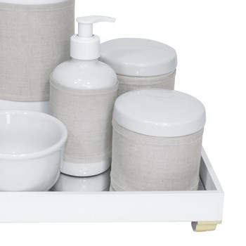 Kit Higiene Espelho Completo Porcelanas, Garrafa e Capa Dourado