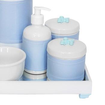 Kit Higiene Espelho Completo Porcelanas, Garrafa e Capa Flor de Liz Azul