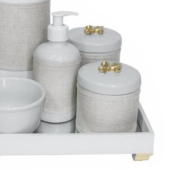 Kit Higiene Espelho Completo Porcelanas, Garrafa e Capa Flor de Liz Dourado
