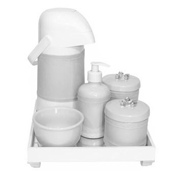Kit Higiene Espelho Completo Porcelanas, Garrafa e Capa Flor de Liz Prata