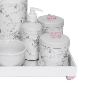 Kit Higiene Espelho Completo Porcelanas, Garrafa e Capa Flor de Liz Rosa