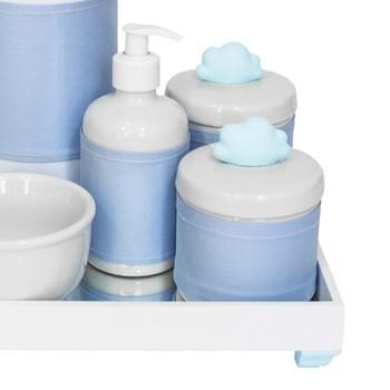 Kit Higiene Espelho Completo Porcelanas, Garrafa e Capa Nuvem Azul