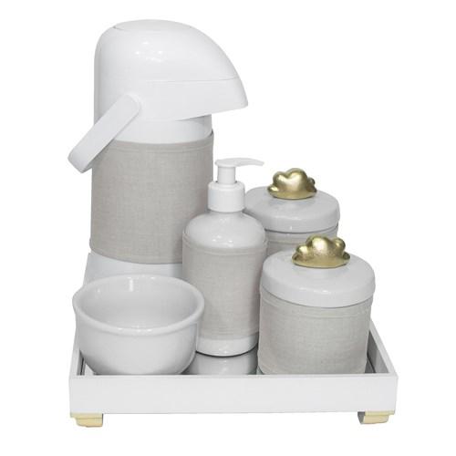 Kit Higiene Espelho Completo Porcelanas, Garrafa e Capa Nuvem Dourado
