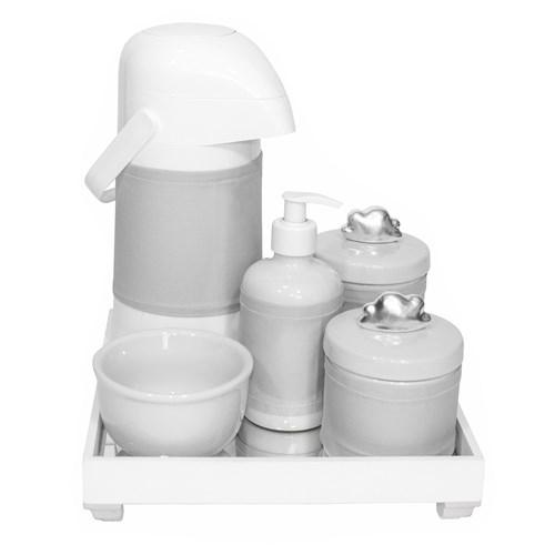 Kit Higiene Espelho Completo Porcelanas, Garrafa e Capa Nuvem Prata