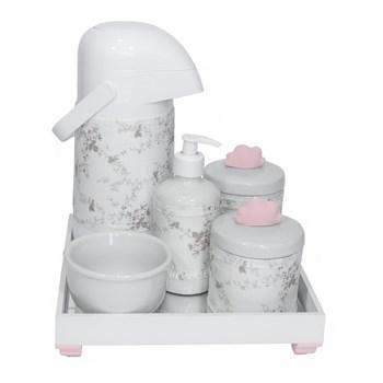 Kit Higiene Espelho Completo Porcelanas, Garrafa e Capa Nuvem Rosa
