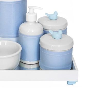 Kit Higiene Espelho Completo Porcelanas, Garrafa e Capa Passarinho Azul