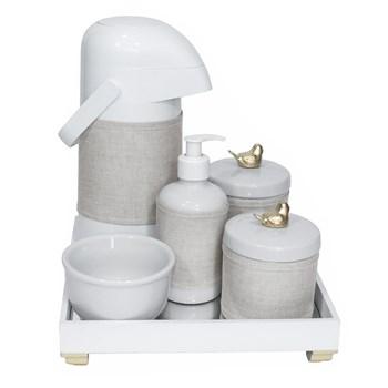 Kit Higiene Espelho Completo Porcelanas, Garrafa e Capa Passarinho Dourado