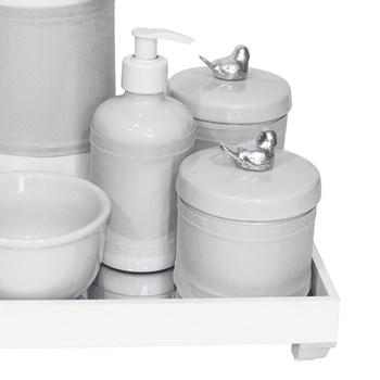 Kit Higiene Espelho Completo Porcelanas, Garrafa e Capa Passarinho Prata