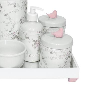Kit Higiene Espelho Completo Porcelanas, Garrafa e Capa Passarinho Rosa