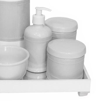 Kit Higiene Espelho Completo Porcelanas, Garrafa e Capa Prata